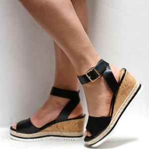 Shoes - New Black Wedge Platform Espadrille Sandals
